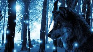 1920x1080, Px, Animals, Blue, Fantasy, Art, Landscape, Lights, Trees, Wolf, High, Quality, Wallpapers, High