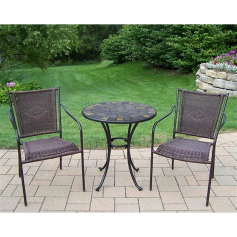 three patio set shop oakland living 3 brown metal frame