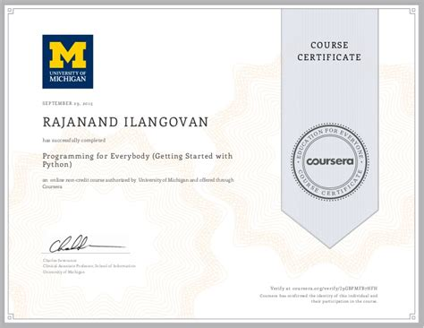started  python coursera verified certificate