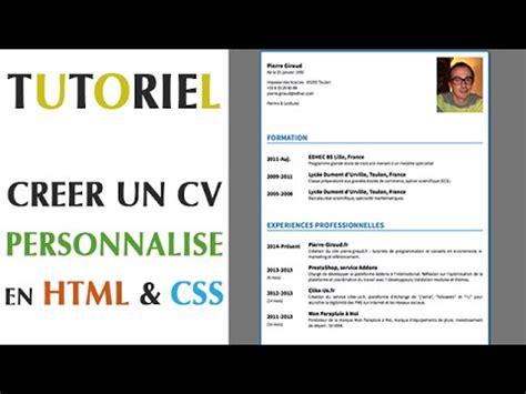 Creer Cv by Cr 233 Er Un Cv Personnalis 233 En Html Css