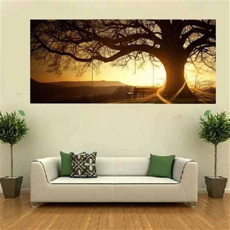 home decor wall 3pcs sunset combination painting printed on canvas