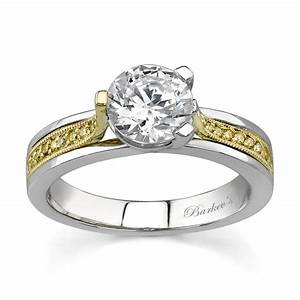 barkev39s two tone engagement ring with yellow diamonds With two tone wedding rings with diamonds