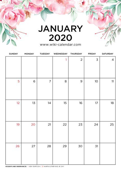 Free Printable January 2020 Calendar - Wiki-Calendar.Com