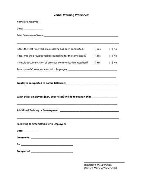 verbal warning template best photos of employee verbal counseling form employee corrective form template