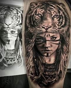 This tattoo is awesome! I love the tiger headdress and the ...