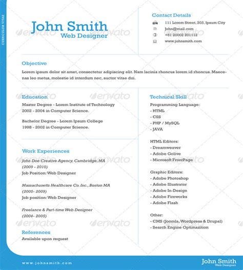 Best One Page Resume Format For Freshers by One Page Resume Template Cyberuse