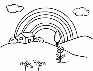 Black And White Rainbow Coloring Page - Coloring Home