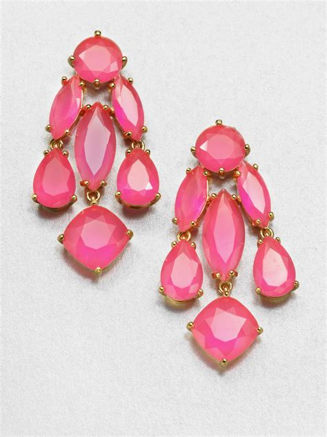 kate spade faceted statement chandelier earrings in pink