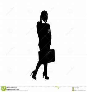 Business Woman Black Silhouette Hold Briefcase Stock ...