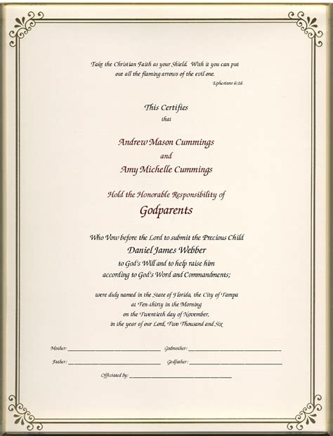 Godparent Certificate Image Collections