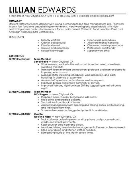 Team Member Resume Summary by Best Restaurant Bar Team Member Resume Exle Livecareer