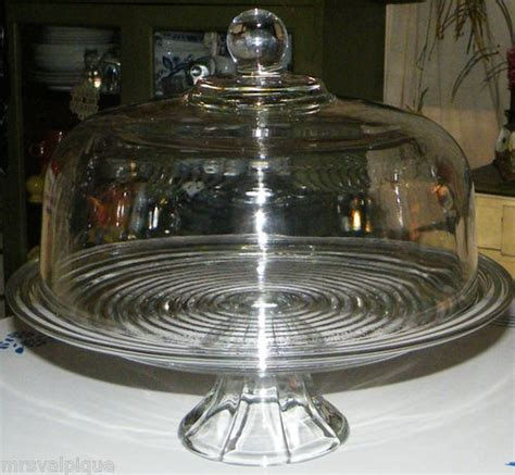 large vintage heavy glass dome cover pedestal cake pastry