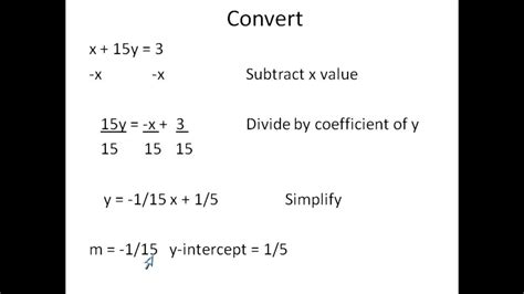 Converting From Standard Form To Slope Intercept Form