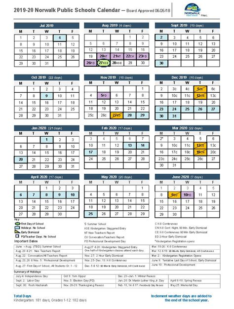 district calendar norwalk public schools