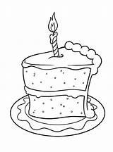 Cake Birthday Coloring Slice Adult Dibujo Cookies Drawing Colouring Colorear Cakes Printable Happy Blanco Negro Spanish Torta Imagen Cards Tortas sketch template