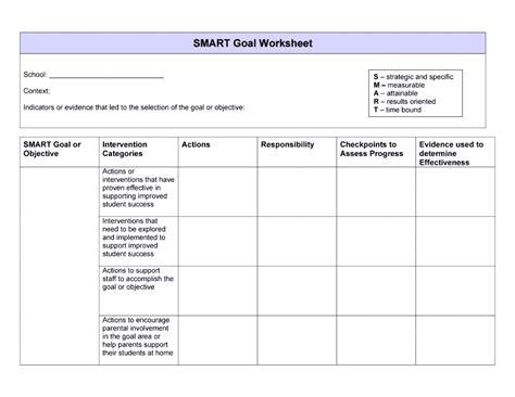 employee goal setting template smart goals template exles worksheets
