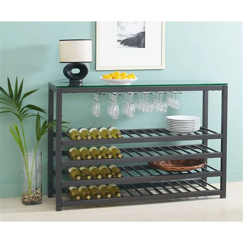 wine rack holds 64 bottles and up to 30 glasses