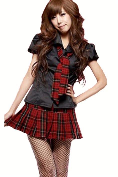 Black Cute Womens Halloween Plaid Short Sleeve School Girl Costume - PINK QUEEN