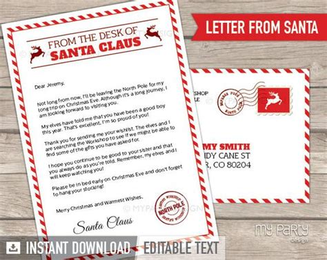letter  santa kit  envelope template red christmas