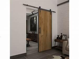 Porte Coulissante Applique : porte coulissante en applique rustic h205cm x l83cm ~ Carolinahurricanesstore.com Idées de Décoration