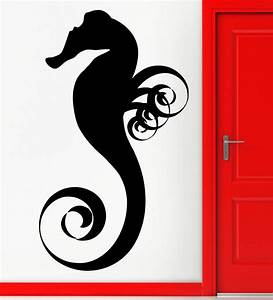 Aquarium seafood vinyl wall decal nursery sea horse fish for Awesome home design ideas with horse decals for walls