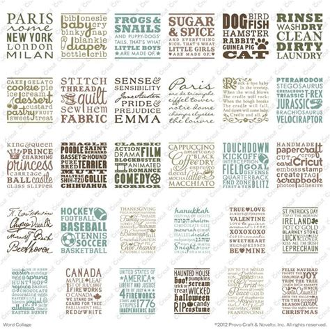 cricut word collage cartridge coffee sewing holidays