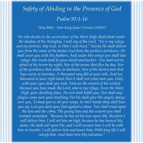 Mtr King 91 by Psalm 91 1 16 New King Version Nkjv Safety Of