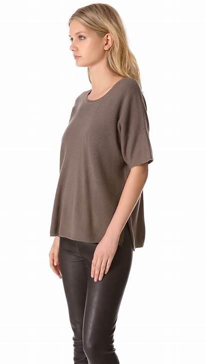 Cashmere Sweater Short Sleeve Vince Mahogany Gray