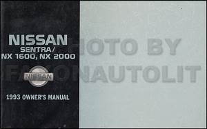 1993 Nissan Sentra And Nx 1600  Nx 2000 Repair Shop Manual