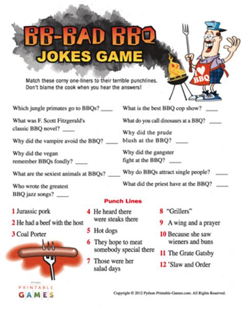 bb bad bbq jokes game printable games