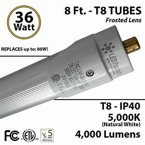 8ft Led Tube Light T8 36w 4000lm 5000k Ip40 Frosted Lens