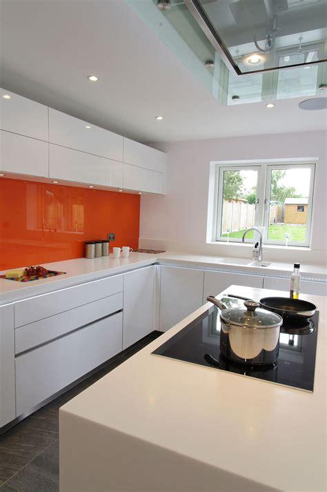 orange kitchens with white cabinets orange and white gloss kitchen ptc kitchens 7208