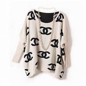 Black Sweater Chanel Inspired Logo Sweater