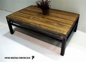 vintage industrial coffee table with shelf With retro industrial coffee table