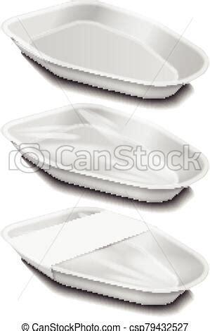 Home › graphics › mockups › plastic tray vacuum food mockup 1790121. Food plastic white tray with white label. styrofoam food ...