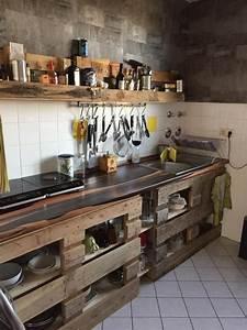 Küchenzeile Selber Bauen : europaletten als diy k chen idee diy kitchenorganization kitchenideas k che europaletten ~ Watch28wear.com Haus und Dekorationen