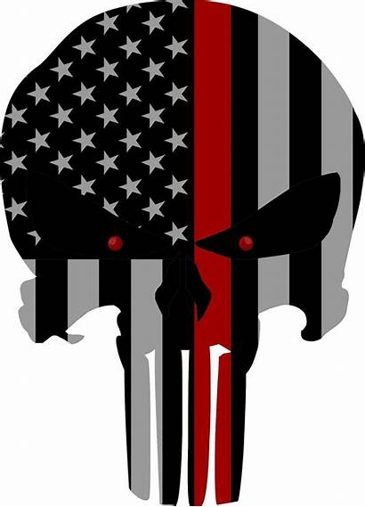 Punisher Skull Flag Line Thin Decal Subdued