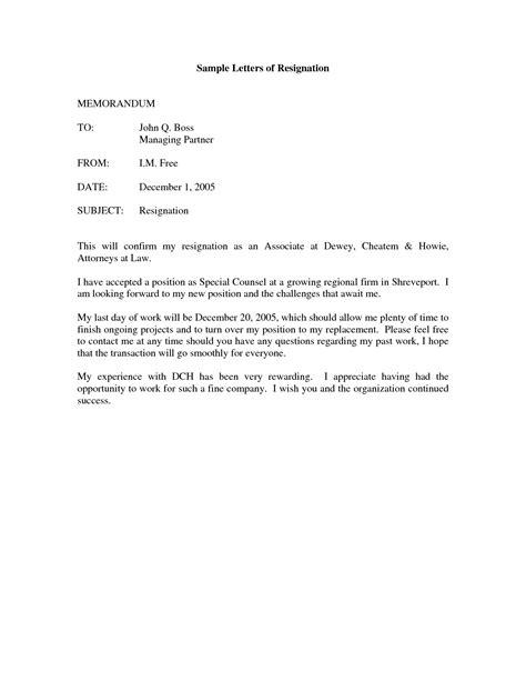 write  sample letter  resignations