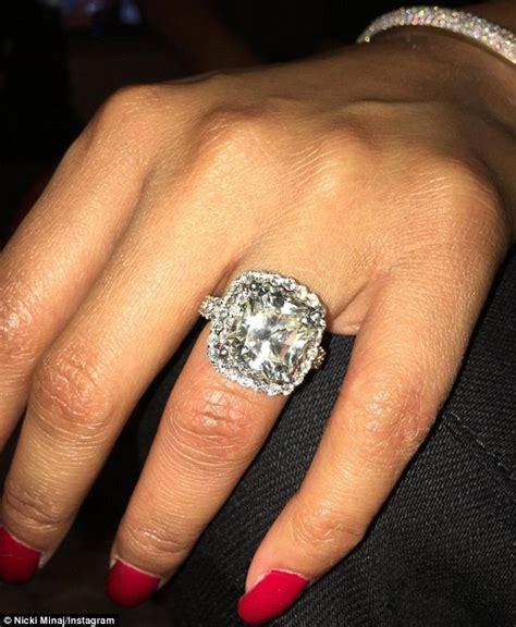 nicki minaj shows off huge diamond ring from meek mill