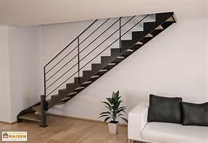 Escalier 1 4 Tournant Droit : limons tokyo pour escalier quart tournant en acier 281 350 cm escalier m tal ~ Dallasstarsshop.com Idées de Décoration