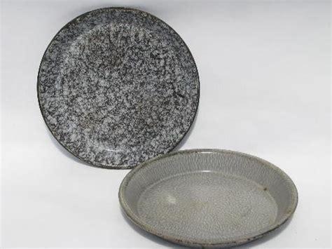 antique speckled enamelware pie plates vintage graniteware pans lot