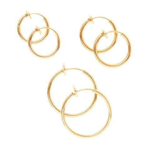 gold graduated clip  hoop earrings  pack claires