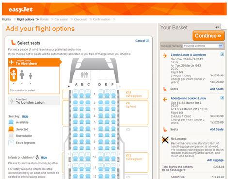 easyjet siege airline seating