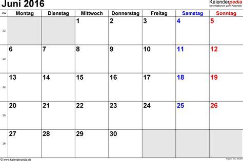 kalender juni  als excel vorlagen