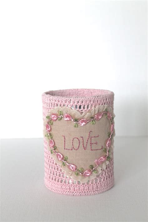 shabby chic desk accessories pink crochet pencil holder love shabby chic office decorating desk accessory pringles cans