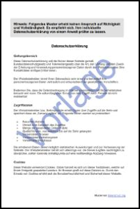 datenschutzerklaerung fuer website  datenschutz