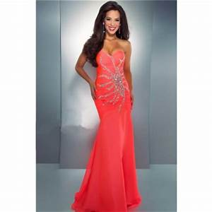 Mermaid Trumpet Sweetheart Long Neon Coral Chiffon Beaded