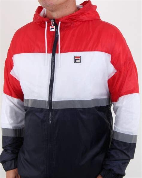 fila vintage cedric rain jacket rednavywhitemenshood