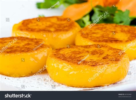 Fried Pumpkin Flowers Food by Colorful Dim Sum Plate Flat Squash Stock Photo 84763468