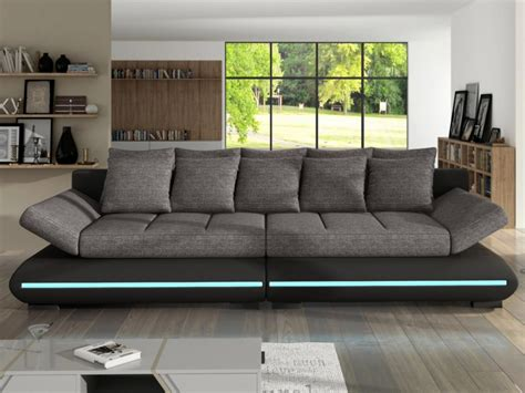 canapé 4 places tissu canapé 4p convertible leds blanc gris noir gris mattias